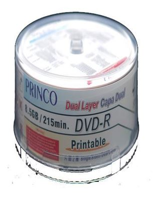 Picture of Princo Dual Layer ( DL) DVD-R 8.5GB White Inkjet Printable 50 Discs
