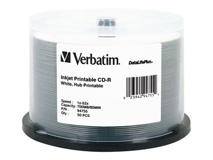 Picture of Verbatim White surface InkJet Printable 52x CD-R 50 Discs (Full Printable)