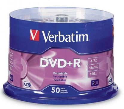 Picture of Verbatim DVD+R 4.7GB 16x 50 Pack on Spindle