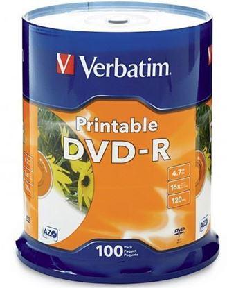Picture of Verbatim 95153 DVD-R 100Pk Spindle white InkJet Printable 4.7GB 16x