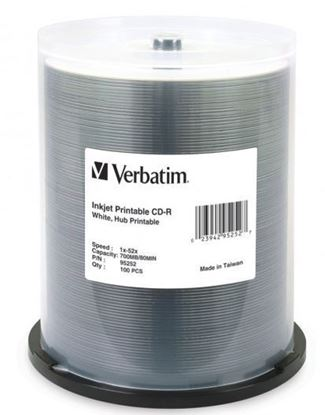 Picture of Verbatim CD-R 52x White Printable 100 Pack on Spindle