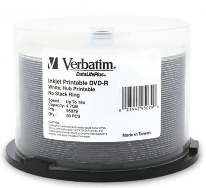 Picture of Verbatim DVD-R 4.7GB 16x White Wide Printable 50 Pack on Spindle