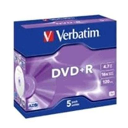 Picture of Verbatim 95049 DVD+R 5pk Jewel Case 4.7GB