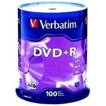 Picture of Verbatim DVD+R 4.7GB 100Pk Spindle 16x