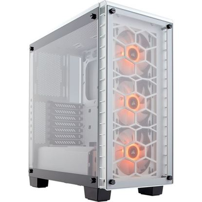 Picture of Corsair Crystal Series 460X Case Tempered Glass Mid-Tower 3 x 120mm SP120 RGB LED Fans Included, WHITE Colour. ATX, Micro-ATX, and Mini-ITX Support, Steel Frame (No PSU)