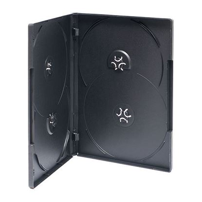 Picture of 100  DVD Case 14mm Black with Clear Film Cover 4BK (Holds 4 discs)