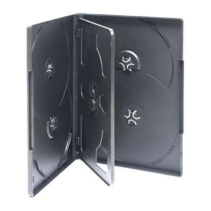 Picture of 100  DVD Case 14mm Black with Clear Film Cover (Holds 6 discs) 6BK