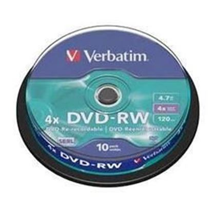 Picture of Verbatim DVD-RW 4.7GB 4x 10 Pack on Spindle